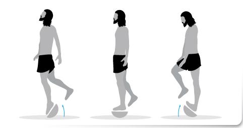 plan de transición, Ejercicio 1 una sola pierna plataforma inestable correr descalzo minimalista