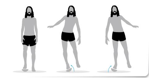 plan de transición, Ejercicio 2 una sola pierna plataforma inestable correr descalzo minimalista