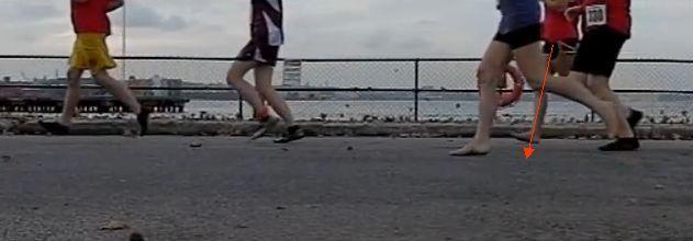 tecnica de carrera:Aterrizaje descalzo de talón