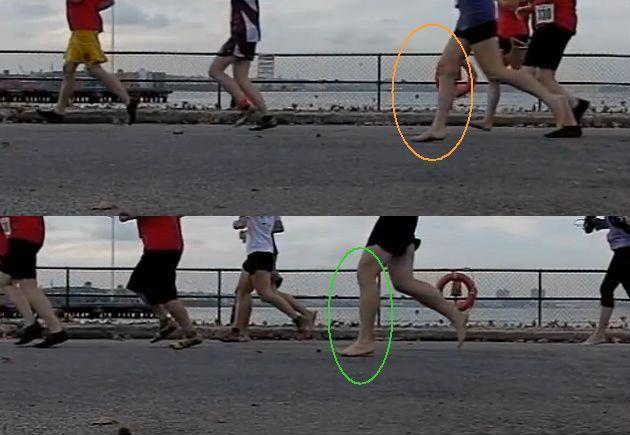 tecnica de carrera:Forma de aterrizaje corriendo descalzo